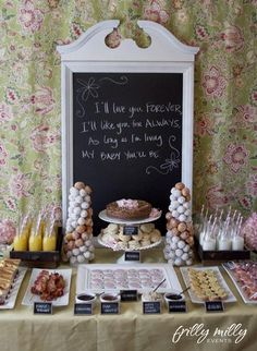 love this layout for a brunch baby shower!  french toast triangles with maple syrup dipping cups; fruit salad in single-serving cups; BEST of all:  bacon rolled on toothpicks before it's cooked!  perfect!