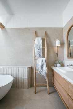 """Organic tones & textures - we decided on Silestone """"Yukon"""" in the seude finish installed by for… Bathroom Renos, Laundry In Bathroom, Master Bathroom, Beige Bathroom, Bathroom Goals, Bathroom Ideas, Bathroom Inspiration, Home Decor Inspiration, Kyal And Kara"""