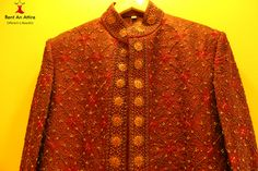 This designer Jacquard #Sherwani comes in a rich dark maroon color and is crafted to make the wearer look regal. Being a true gentleman never goes out of fashion.  Try it ♡ Book it ♡ Flaunt it~ Rent an Attire