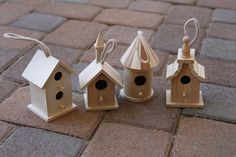 Miniature birdhouses from Michaels for a fairy village - tutorial