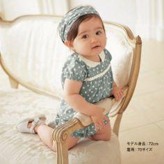 Baby romper/ Girl's blue romper with white dot/ Children sportswear headpiece + teddy $8.90