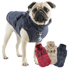 A fleece lined dog coat with built-in harness by Puppia.