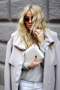 Shades of grey. Apparel fashion clothing outfit style women coat spring purse white