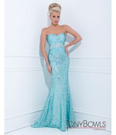 bbc0b2df0bb212 Tony Bowls 2014 Prom Dresses - Blue Sequin Beaded Geometric Strapless  Sweetheart Long Gown - Unique
