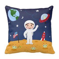 Friends in space, cute kids cartoon custom pillow