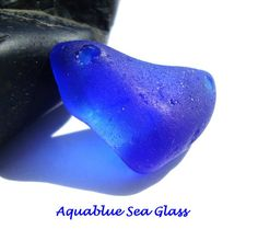 DOUBLE DRILLED  Sea Glass  Cobalt For Bracelet by aquablueseaglass, $12.99