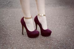Deep red and gold shoes