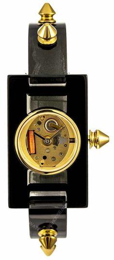 8e4e16ea816224 GUCCI Vintage Web Gold Skeletal Dial Plexiglass Women's Watch YA143508