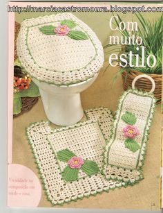 Crochet bathroom set ♥️LCB-MRS♥️ with diagrams.