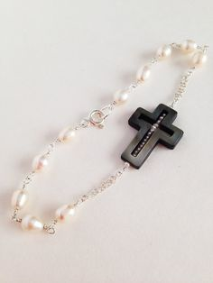 Sterling silver freshwater pearl rosary bracelet by Amaria