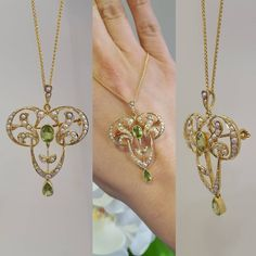 ac.silver Early 20th century seed pearl and peridot pendant and brooch all in one. All set in 18ct yellow gold - Our fave of the day