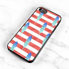 Watercolor Feather Pattern Striped Red Hard Case by MintPrintCases