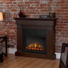 Shop for Real Frame 'Crawford' Slim Line Chestnut Oak Electric Fireplace. Get free delivery at Overstock.com - Your Online Home Decor Outlet Store! Get 5% in rewards with Club O!
