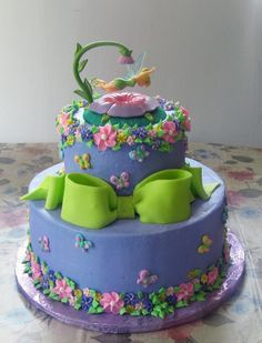 Tinkerbell Birthday Cakes   tinkerbell cake 2 tier 10 6 all chocolate cake iced in buttercream ...