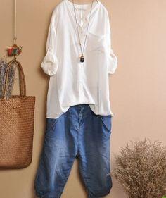 White Purple Blue  blouse Tshirt Cotton blouse von fashiondress6, $62.00