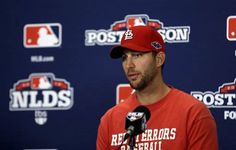 St. Louis Cardinals' Adam Wainwright speaks during a news conference, Saturday, Oct. 6, 2012, in St. Louis. Wainwright is scheduled to start for the Cardinals in Game 1 of the National League division series against the Washington Nationals on Sunday.