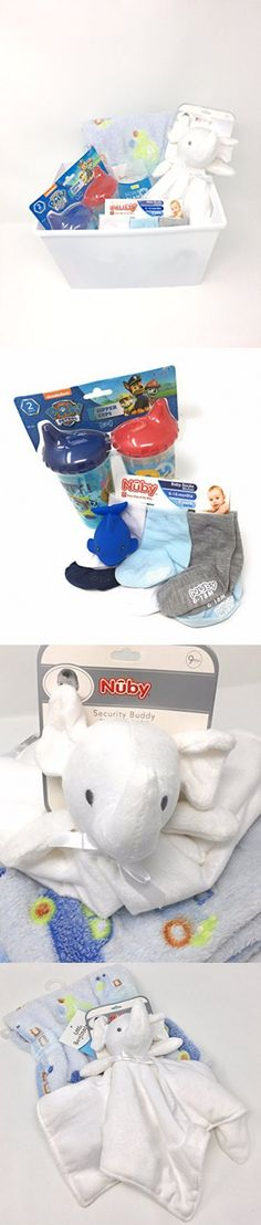 Baby gift set box with elephant snuggle security blanket