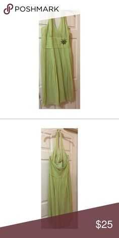 🌹Lime Green Halter🌹 Lime Green Halter 100% Silk V neck  Small Brooch On Waist Flowy Dresses