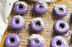 Ube Donuts with Coconut Glaze — The Sweet & Sour Baker Ube Dessert Recipe, Mochi Donuts Recipe, Dessert Recipes, Dessert Ideas, Filipino Desserts, Asian Desserts, Filipino Recipes, Filipino Food, Ube Recipes