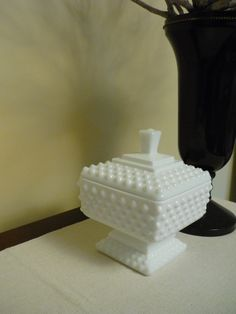 Vintage Fenton Hobnail Milk Glass Candy Dish, Footed Dish with Lid