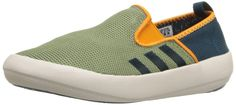 adidas Outdoor Boat Slip-On Water Shoe (Little Kid/Big Kid), Shift Olive/Mineral/Equipment Orange, 13.5 M US Little Kid. Open mesh nylon for best breathability and quick drying. Exceptional traxion in wet and slippery conditions.