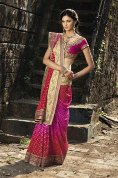 Red and fuchsia Badhej saree from the 2013 BenzerWorld Collection.