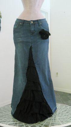 Belle Époque Noire black ruffled tiered ultra femme bohemian mermaid Renaissance Denim Couture ballroom jean skirt. $78.00, via Etsy.