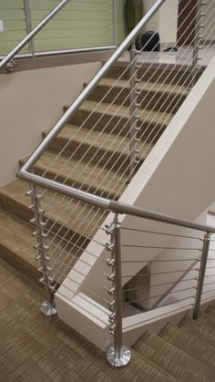 Stainless Railing W/ Aircraft Cable Interior Stair Railing, Metal Stair Railing, Staircase Handrail, Staircase Design, Cable Railing, Steel Railing Design, Balcony Railing Design, Balcony Grill, Welding Design