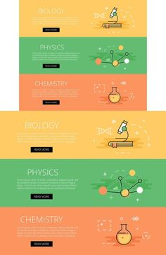 Biology. Physics. Chemistry banners