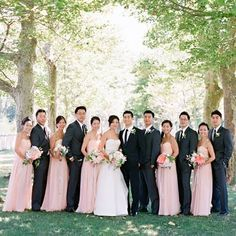 Blush pink bridesmaid dresses, black suit for groom, charcoal for groomsmen