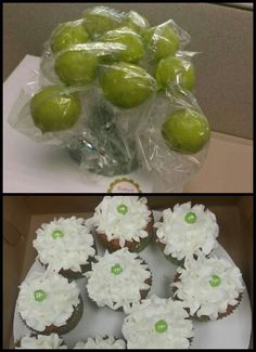 Carmel Apple dipped yellow cake pops! And vanilla/vanilla cupcakes!  Find me on FACEBOOK Sweet Little Kakes!