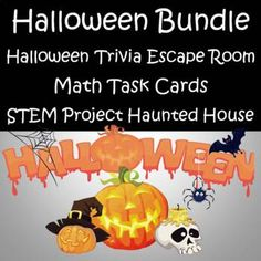 This is a great Bundle to use the week of Halloween. Includes 2 STEM project - Trick or Treat Bag and Haunted HouseMath Task Cards - Adding, Subtracting, Multiplying & Dividing Word Problems, Adding Whole Numbers, Subtracting Across Zero, Double Digit Multiplication, DivisionPLUS a 20 question ...