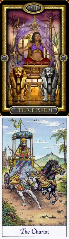 THE CHARIOT: willpower leading to victory and lack of direction (reverse). Royale Tarot deck and Cosmic Tarot deck: tarottapestry, internet tarot reading vs read my tarot cards online free. New pagan tattoo and fortune telling diy. #tarotdecks #android #wands #android #unicorn #androidapplication #tarotcardsdiy