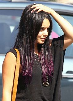 Would love to do this exact look but would never be able to pull this off!!!! Purple tips on dark hair