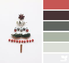 Celebrate the holidays with a Sherwin-Williams color palette that's simple and sweet, just like this little tree. For a dusty-toned holiday palette, give Opaline SW Roycroft Pewter SW 2848 and Peppery SW 6615 a try. Christmas Palette, Christmas Colour Schemes, Colour Pallete, Color Schemes, Color Palettes, Color Tones, Stoff Design, Color Balance, Christmas Images