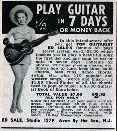 Guitar Tips Watches Guitar Keys, Music Guitar, Playing Guitar, Retro Advertising, Vintage Advertisements, Vintage Ads, Song Notes, Electric Guitar Lessons, Joe Satriani