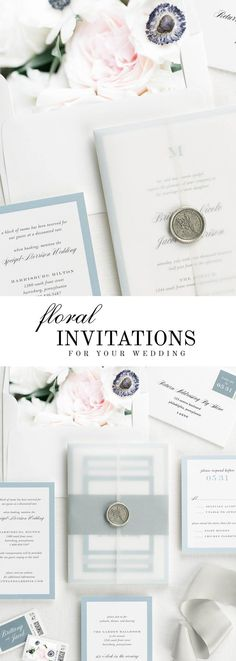 The Upscale Monogram wedding invitation suite is paired with Emma florals.  Emma features blue anemones, blush spray roses, lisianthus, and white mum.