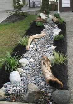dry bed rock and grasses - Google Search Landscaping With Rocks, Front Yard Landscaping, Backyard Landscaping, Landscaping Ideas, Backyard Ideas, Landscaping Software, Black Rock Landscaping, Landscaping Melbourne, Florida Landscaping