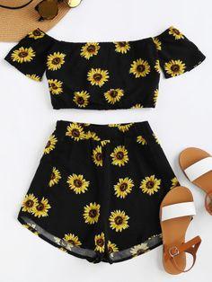 Bardot Sunflower Print Crop Top And Shorts Set