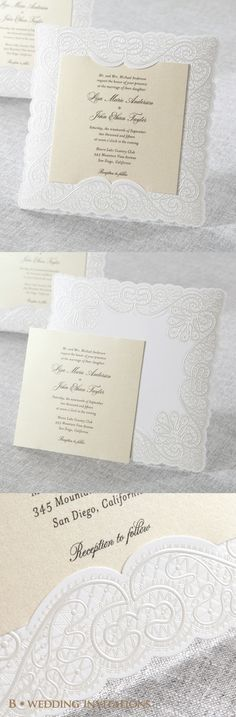 Silk Embossed Laser Cut Frame by B Wedding Invitations  #bweddinginvitations #wedding #invitations #weddinginvitations #embossed #embossedinvitation