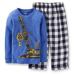 Carters Little Boys 2 Piece Pajamas  Construction 12 Months Blue -- Want to know more, click on the image. (This is an affiliate link) #BabyBoySleepwearRobes