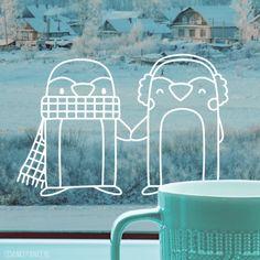 Sweet penguins enjoying winter window drawing Sweet penguins enjoying winter window drawing [p Diy Nail Designs, Winter Nail Art, Window Art, Chalkboard Art, Cool Tones, Luxury Beauty, Winter Wonderland, Decoration, Simple