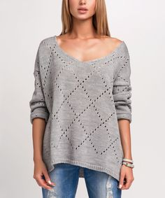 Take a look at this Makadamia Gray Eyelet Scoop Neck Sweater today!
