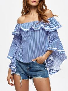 Light Blue Ruffled Sexy Long Sleeved Stripes Frill Sleeve Off Shoulder Top