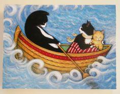 Mounted tuxedo cat print. The Rescue. Free by heidishaulis on Etsy