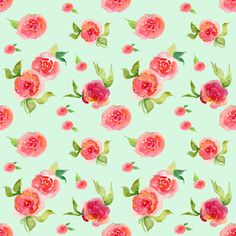Red Roses Mint - Floral Print fabric by shopcabin on Spoonflower - custom fabric