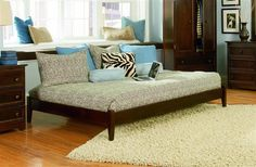 Concord Antique Walnut Solid Wood Platform Twin Bed w/Open Foot Rail