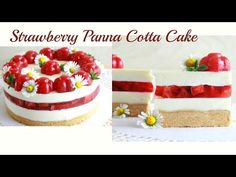 Strawberry Jelly Panna Cotta Cake / Torta di Panna Cotta e Gelée di Fragole - YouTube Strawberry Panna Cotta, Vanilla Panna Cotta, Strawberry Jelly Recipes, Cake Recipes, Sweet Recipes, No Bake Desserts, Sweet Tooth, Berries, Cheesecake