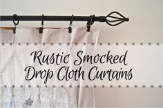 rustic-smocked-drop-cloth-curtains-country-design-style-FP Making a drop cloth fancy enough for company!