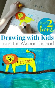 We've been exploring drawing for kids with the Monart method using Mona Brookes' Drawing with Children book. This is lesson 2, drawing lions from graphics.